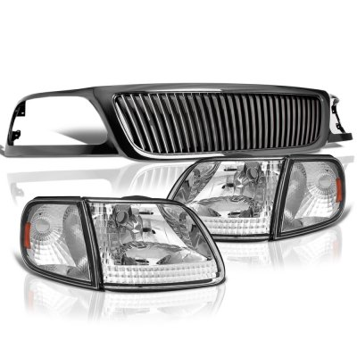 Ford F150 1999-2003 Black Grille Clear Headlights Set