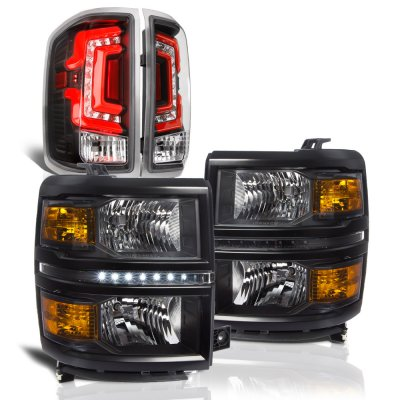 Chevy Silverado 1500 2014-2015 Black DRL Headlights Custom LED Tail Lights