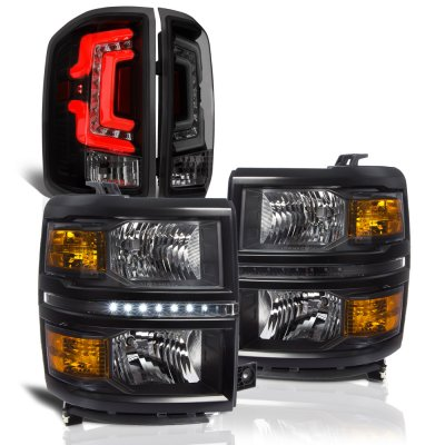 Chevy Silverado 1500 2014-2015 Black DRL Headlights Smoked Custom LED Tail Lights