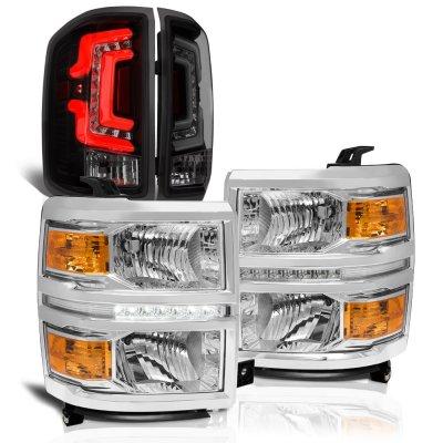 Chevy Silverado 1500 2014-2015 Clear DRL Headlights Smoked Custom LED Tail Lights