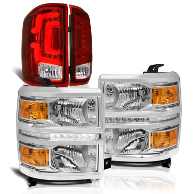 Chevy Silverado 1500 2014-2015 Clear DRL Headlights Custom LED Tail Lights