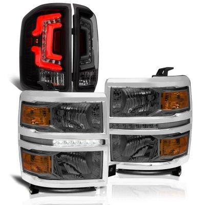 Chevy Silverado 1500 2014-2015 Smoked DRL Headlights Custom LED Tail Lights