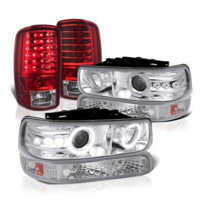 Chevy Tahoe 2000-2006 Halo Projector Headlights LED Tail Lights