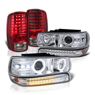 Chevy Suburban 2000-2006 Halo Projector Headlights LED Bumper Tail Lights