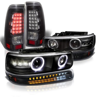 Chevy Silverado 2500HD 2001-2002 Black Halo Projector Headlights LED Bumper Tail Lights