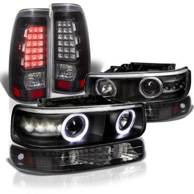 Chevy Silverado 2500HD 2001-2002 Black Halo Projector Headlights LED Tail Lights