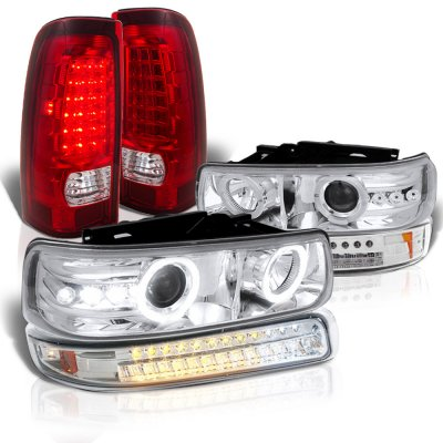Chevy Silverado 1999-2002 Halo Projector Headlights LED Bumper Tail Lights