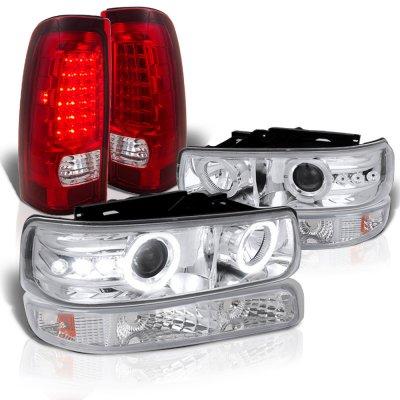 Chevy Silverado 2500 1999-2002 Halo Projector Headlights LED Tail Lights