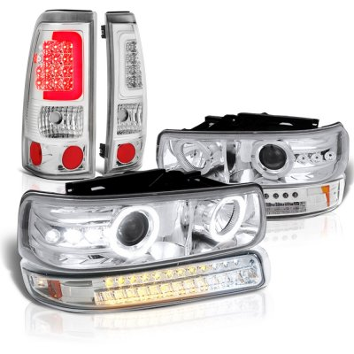 Chevy Silverado 2500 1999-2002 Halo Projector Headlights LED Bumper Tube Tail Lights