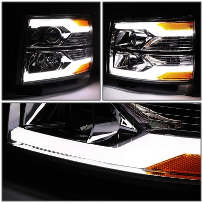 Chevy Silverado 2500HD 2007-2014 Facelift DRL Projector Headlights
