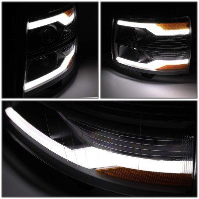 Chevy Silverado 2007-2013 Black Smoked Facelift DRL Projector Headlights