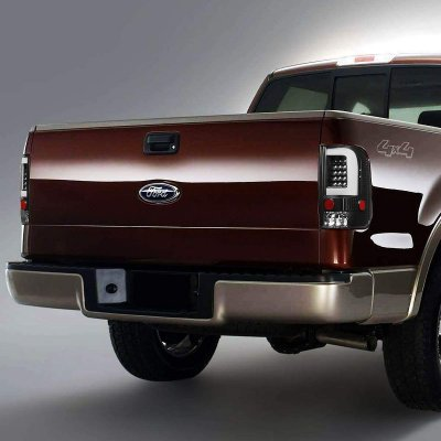Ford F150 2004-2008 Black C-Tube LED Tail Lights