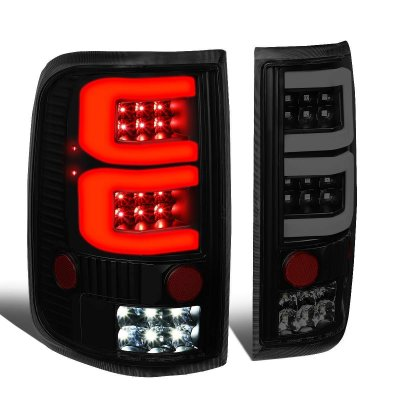Ford F150 2004-2008 Black Smoked Custom Tube LED Tail Lights