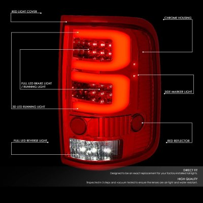 Ford F150 2004-2008 Custom Tube LED Tail Lights