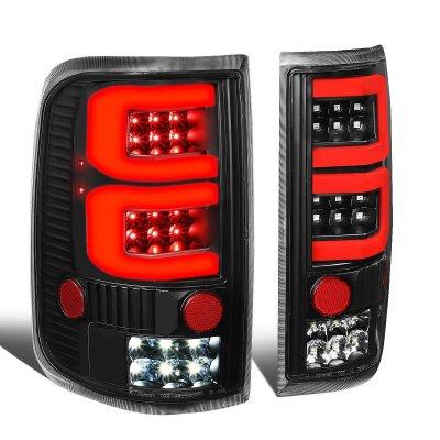 Ford F150 2004-2008 Black Custom Red Tube LED Tail Lights