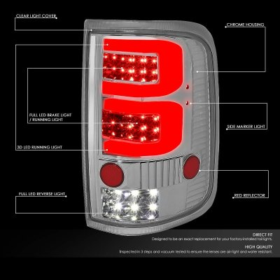 Ford F150 2004-2008 Clear Custom Red Tube LED Tail Lights