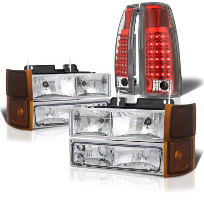 Chevy Silverado 1994-1998 Headlights Tinted Corner LED Tail Lights