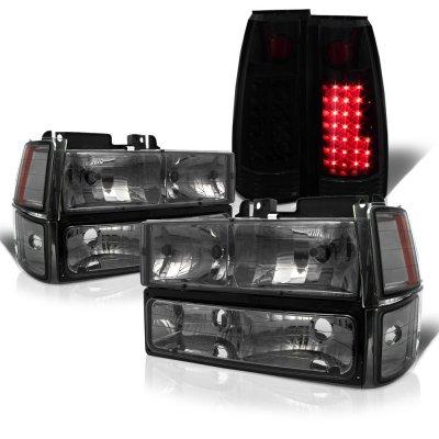 Chevy Silverado 1994-1998 Smoked Headlights and Black Smoked LED Tail Lights
