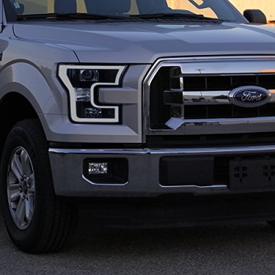 Ford F150 2015-2017 Smoked Projector Headlights LED DRL