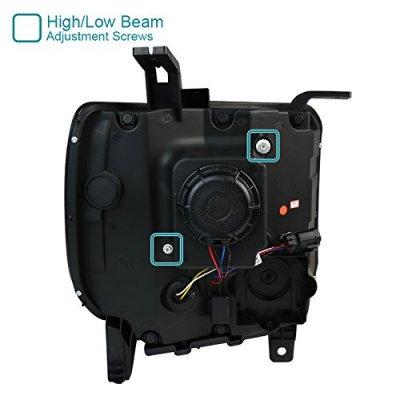 GMC Sierra 1500 2014-2015 Black LED Tube DRL Projector Headlights