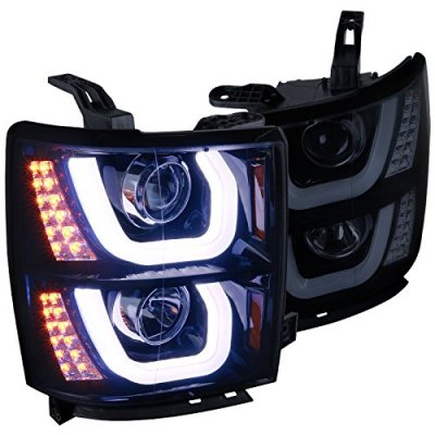 Chevy Silverado 2014-2015 Smoked DRL Projector Headlights LED Signal