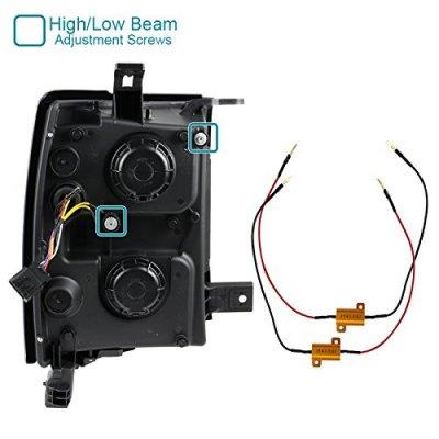 Chevy Silverado 2014-2015 Black DRL Projector Headlights LED Signal