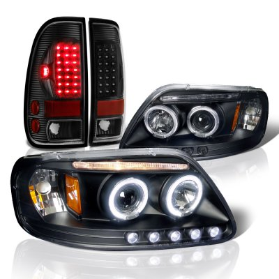 Ford F150 1997-2003 Black Halo Projector Headlights and LED Tail Lights