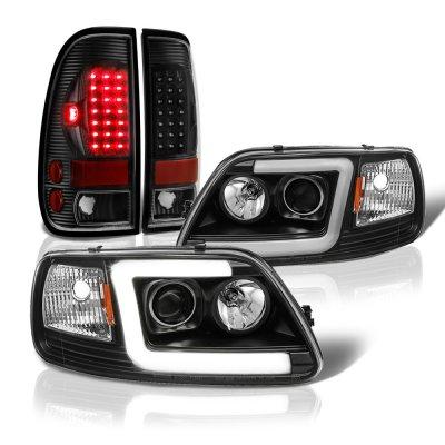 Ford F150 1997-2003 Black DRL Projector Headlights LED Tail Lights
