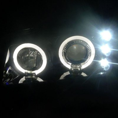 Chevy Silverado 2500 2003-2004 Smoked Halo Projector Headlights with LED