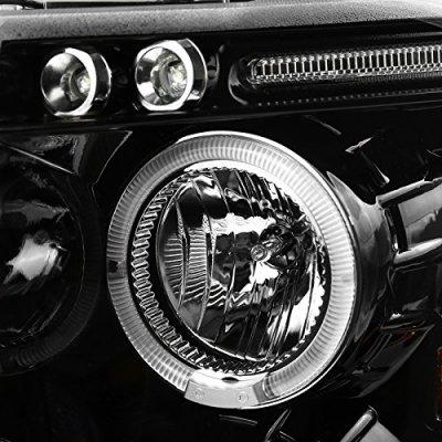 Chevy Silverado 2007-2013 Gloss Black Halo Projector Headlights LED Eyebrow