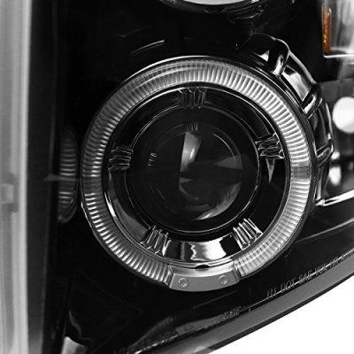 Chevy Silverado 2500HD 2007-2014 Gloss Black Halo Projector Headlights LED Eyebrow