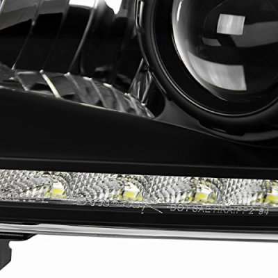 Dodge Ram 1994-2001 Black Retrofit Projector Headlights LED DRL
