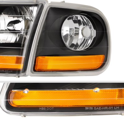 Ford F150 1997-2003 Black Harley Headlights Set