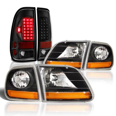Ford F150 1997-2003 Black Harley Headlights LED Tail Lights