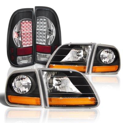 Ford F150 1997-2003 Black Harley Headlights Black Chrome LED Tail Lights