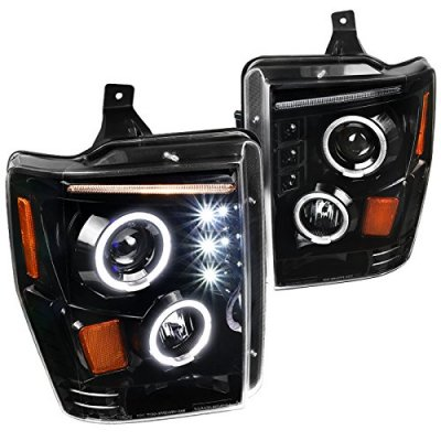 Ford F250 Super Duty 2008-2010 Glossy Black Halo Projector Headlights with LED