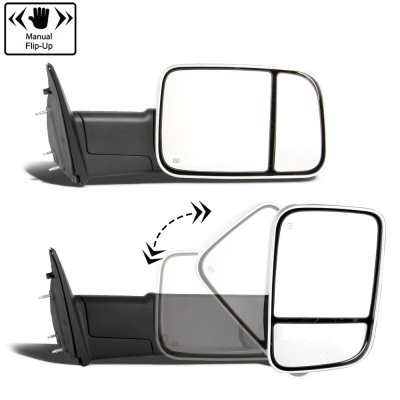 Dodge Ram 2500 2003-2009 New Chrome Power Heated Towing Mirrors Signal Lights Amber