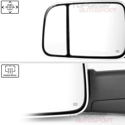Dodge Ram 1500 2009-2018 Chrome Power Heated Towing Mirrors Temp Sensor Clear Signal
