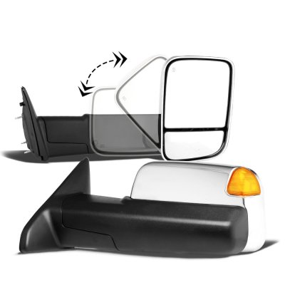 Dodge Ram 1500 2002-2008 New Chrome Power Heated Towing Mirrors Signal Lights Amber