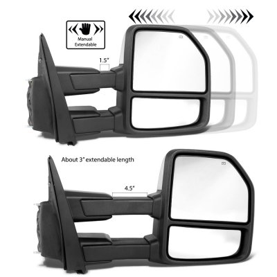 Ford F450 Super Duty 2017-2020 Chrome Power Heated Towing Mirrors LED Signal