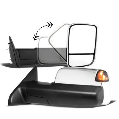 Dodge Ram 1500 2009-2018 Chrome Power Heated Towing Mirrors Smoked Signal Lights Temp Sensor