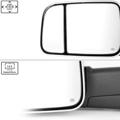 Dodge Ram 1500 2009-2018 Chrome Power Heated Towing Mirrors Smoked Signal Lights Temp Sensor
