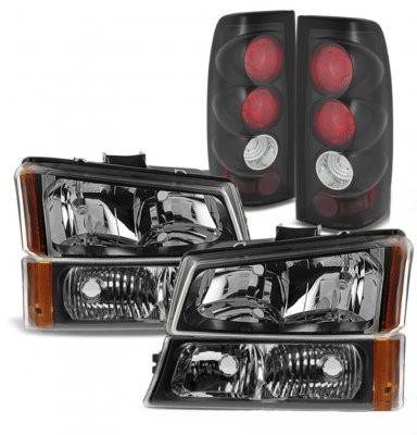 Chevy Silverado 2003-2006 Black Headlights Bumper Lights and Tail Lights