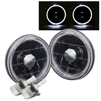Chevy Caprice 1966-1976 Black Halo LED Headlights Conversion Kit Low Beams