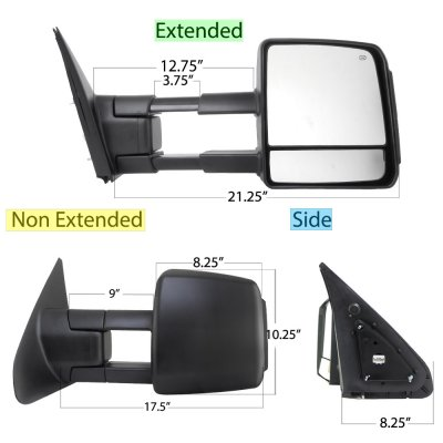 Toyota Tundra 2007-2019 Towing Mirrors Power Heated Smoked LED Signal Lights
