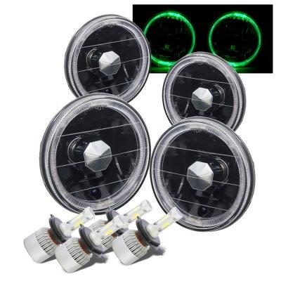 Chevy El Camino 1964-1970 Black Green Halo LED Headlights Conversion Kit