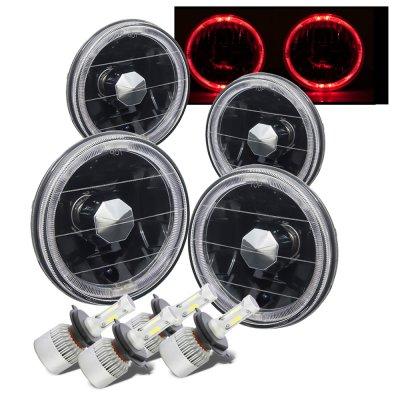 Chevy El Camino 1964-1970 Black Red Halo LED Headlights Conversion Kit