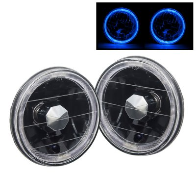 1971 Plymouth Barracuda Blue Halo Black Sealed Beam Headlight Conversion High Beams