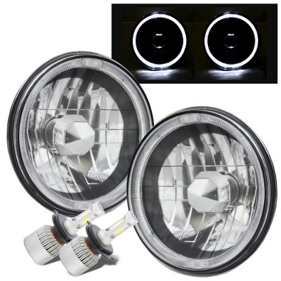 Dodge Pickup Truck 1969-1979 Black Chrome Halo LED Headlights Conversion Kit