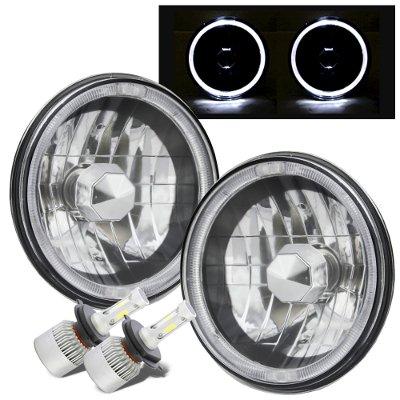 Jeep Wrangler 1997-2006 Black Chrome Halo LED Headlights Conversion Kit